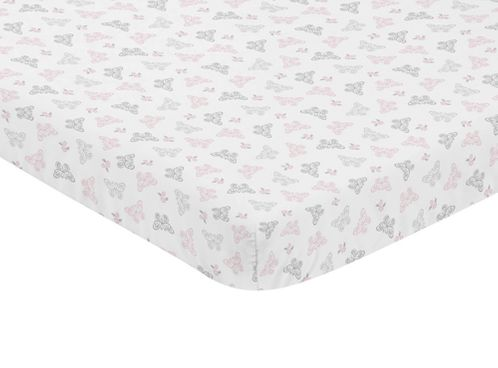 Pink, Grey and White Butterfly Baby Fitted Mini Portable Crib Sheet for Alexa Collection by Sweet Jojo Designs - Click to enlarge