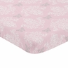 Pink, Grey and White Damask Baby Fitted Mini Portable Crib Sheet for Alexa Collection by Sweet Jojo Designs