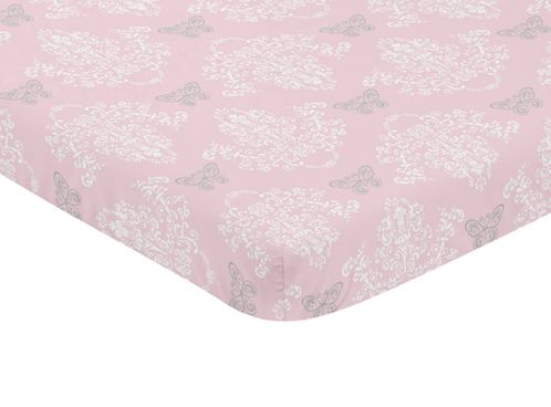 Pink, Grey and White Damask Baby Fitted Mini Portable Crib Sheet for Alexa Collection by Sweet Jojo Designs - Click to enlarge