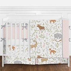 Pink, Grey and White Woodland Animal Toile Deer Fox Bear Baby Girl Crib Bedding Set with Bumper by Sweet Jojo Designs - 9 pieces
