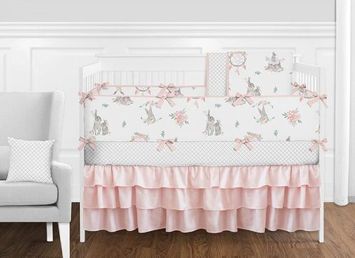 Pink, Grey and White Woodland Boho Bunny Floral Dream Catcher Baby Girl Nursery Crib Bedding Set with Bumper by Sweet Jojo Designs - 9 pieces - Click to enlarge