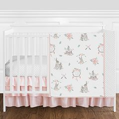 Pink, Grey and White Woodland Boho Bunny Floral Dream Catcher Baby Girl Nursery Crib Bedding Set without Bumper by Sweet Jojo Designs - 4 pieces