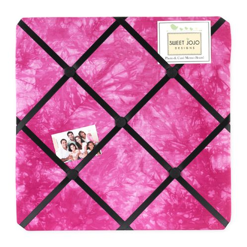 Pink Groovy Peace Out Tie Dye Fabric Memory/Memo Photo Bulletin Board - Click to enlarge