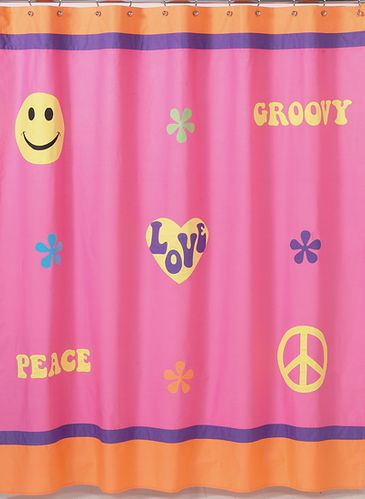 Pink Groovy Peace Sign Kids Bathroom Fabric Bath Shower Curtain - Click to enlarge
