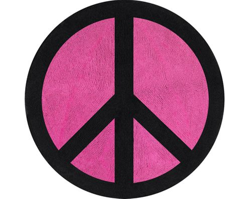 Pink Groovy Peace Sign Tie Dye Accent Floor Rug - Click to enlarge