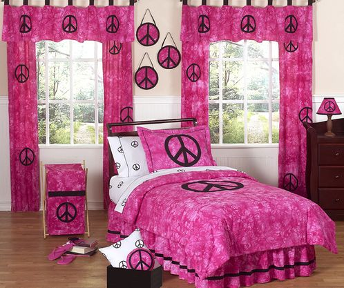 Pink Groovy Peace Sign Tie Dye Children's Bedding - 3 pc Full / Queen Set - Click to enlarge