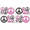 Pink Groovy Peace Sign Tie Dye Kids and Teens Wall Decal Stickers - Set of 4 Sheets