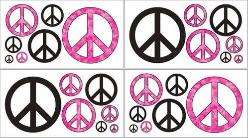 Pink Groovy Peace Sign Tie Dye Kids and Teens Wall Decal Stickers - Set of 4 Sheets - Click to enlarge
