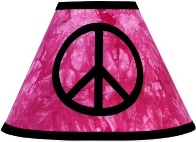 Pink Groovy Peace Sign Tie Dye Lamp Shade by Sweet Jojo Designs - Click to enlarge