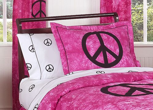 Pink Groovy Peace Sign Tie Dye Pillow Sham - Click to enlarge