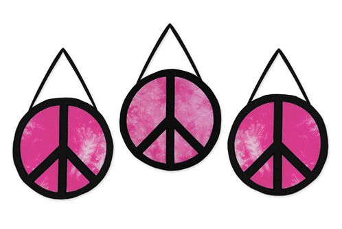 Pink Groovy Peace Sign Tie Dye Wall Hanging Accessories by Sweet Jojo Designs - Click to enlarge
