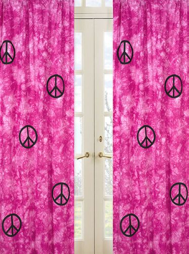 Pink Groovy Peace Sign Tie Dye Window Treatment Panels - Set of 2 - Click to enlarge