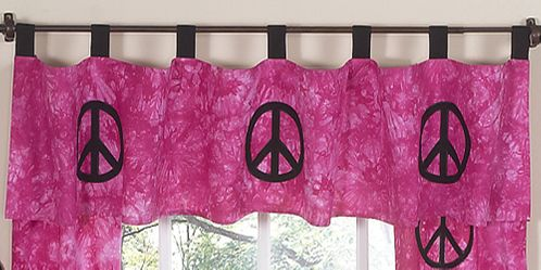 Pink Groovy Peace Sign Tie Dye Window Valance by Sweet Jojo Designs - Click to enlarge