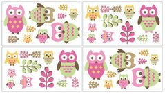 Pink Happy Owl Peel and Stick Wall Decal Stickers Art Nursery Decor by Sweet Jojo Designs - Set of 4 Sheets