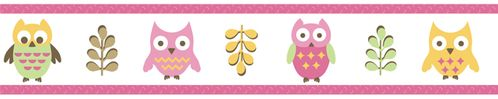 Pink Happy Owl Baby and Kids Wall Paper Border by Sweet Jojo Designs - Click to enlarge