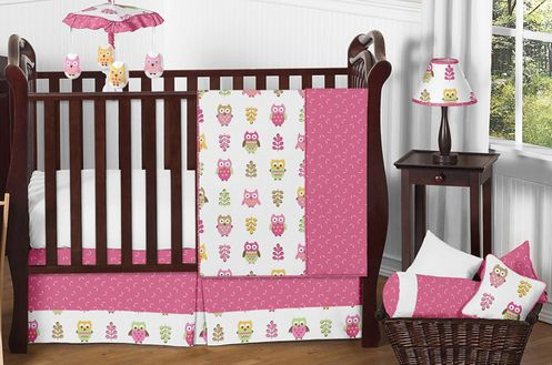 Pink Happy Owl Baby Bedding - 11pc Crib Set by Sweet Jojo Designs - Click to enlarge