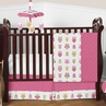Pink Happy Owl Baby Bedding - 4pc Crib Set by Sweet Jojo Designs