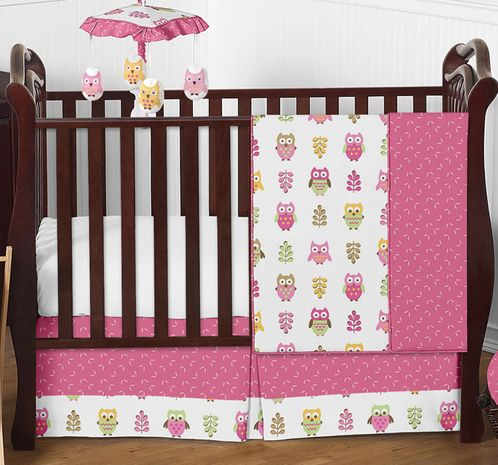 Pink Happy Owl Baby Bedding - 4pc Crib Set by Sweet Jojo Designs - Click to enlarge