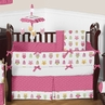 Pink Happy Owl Baby Bedding - 9 pc Crib Set by Sweet Jojo Designs
