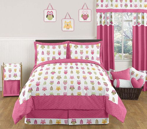 Pink Happy Owl Childrens Bedding - 3 pc Full / Queen Set by Sweet Jojo Designs - Click to enlarge