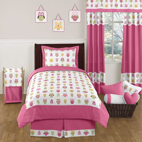 Pink Happy Owl Childrens Bedding - 4 pc Twin Set by Sweet Jojo Designs - Click to enlarge