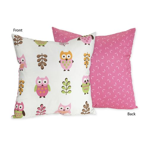 Pink Happy Owl Decorative Accent Throw Pillow by Sweet Jojo Designs - Click to enlarge
