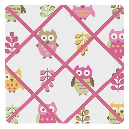 Pink Happy Owl Fabric Memory/Memo Photo Bulletin Board by Sweet Jojo Designs - Click to enlarge