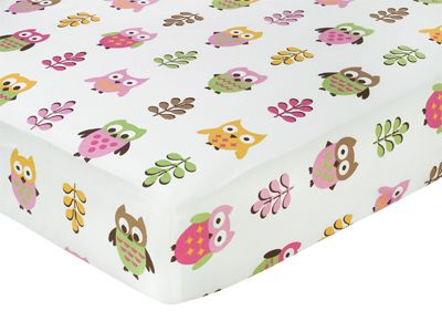 Pink Happy Owl Fitted Crib Sheet for Baby/Toddler Bedding by Sweet Jojo Designs - Owl Print - Click to enlarge