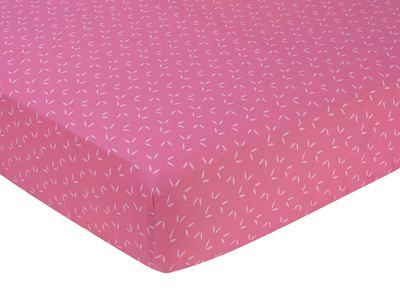 Pink Happy Owl Fitted Crib Sheet for Baby/Toddler Bedding by Sweet Jojo Designs - Tonal Mini Leaf Print - Click to enlarge