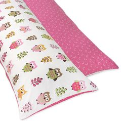 Pink Happy Owl Full Length Double Zippered Body Pillow Case Cover by Sweet Jojo Designs