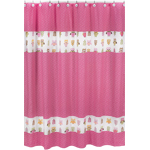Pink Happy Owl Kids Bathroom Fabric Bath Shower Curtain by Sweet Jojo Designs