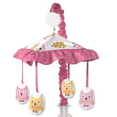 Pink Happy Owl Musical Baby Crib Mobile by Sweet Jojo Designs