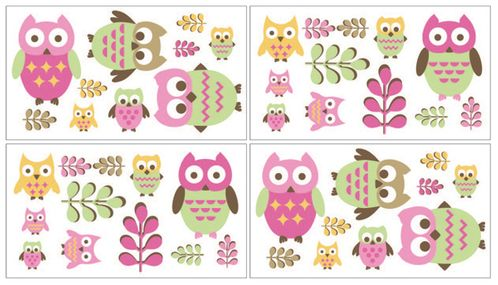 Pink Happy Owl Peel and Stick Wall Decal Stickers Art Nursery Decor by Sweet Jojo Designs - Set of 4 Sheets - Click to enlarge