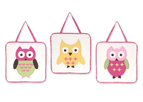 Pink Happy Owl Wall Hanging Accessories by Sweet Jojo Designs - Click to enlarge
