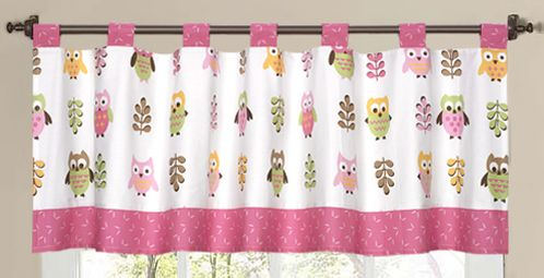 Pink Happy Owl Window Valance by Sweet Jojo Designs - Click to enlarge