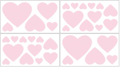 Pink Hearts Peel and Stick Wall Decal Stickers Art Nursery Decor for Chenille Bedding by Sweet Jojo Designs - Set of 4 Sheets - Click to enlarge