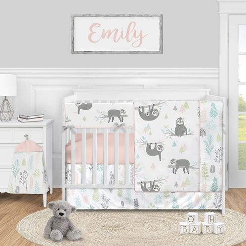 Pink Jungle Sloth Leaf Baby Girl Nursery Crib Bedding Set by Sweet Jojo Designs - 5 pieces - Blush Turquoise Grey and Green Tropical Botanical Rainforest - Click to enlarge