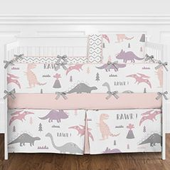 Pink, Lavender Purple, Grey and White Modern Dinosaur Mod Dino Baby Girls 9 Piece Crib Bedding Set with Bumper