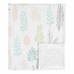 Pink Leaf Baby Girl Receiving Security Swaddle Blanket for Newborn or Toddler Nursery Car Seat Stroller Soft Minky by Sweet Jojo Designs - Blush, Turquoise, Grey and Green Tropical Botanical Rainforest Jungle Sloth