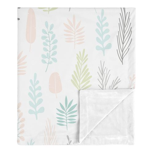 Pink Leaf Baby Girl Receiving Security Swaddle Blanket for Newborn or Toddler Nursery Car Seat Stroller Soft Minky by Sweet Jojo Designs - Blush, Turquoise, Grey and Green Tropical Botanical Rainforest Jungle Sloth - Click to enlarge