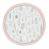 Pink Leaf Girl Baby Playmat Tummy Time Infant Play Mat by Sweet Jojo Designs - Blush, Turquoise, Grey and Green Tropical Botanical Rainforest Jungle Sloth