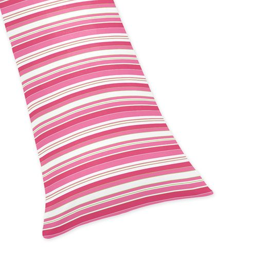 Pink, Lime and White Stripe Full Length Double Zippered Body Pillow Case Cover for Sweet Jojo Designs Olivia Sets - Click to enlarge