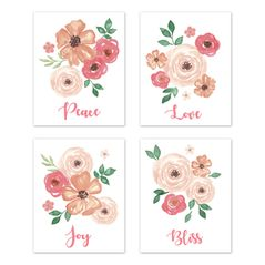 Pink, Peach and Green Rose Flower Wall Art Prints Room Decor for Baby, Nursery, and Kids for Watercolor Floral Collection by Sweet Jojo Designs - Set of 4 - Peace Love Joy Bliss