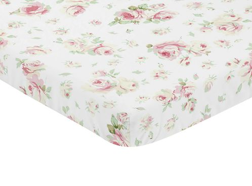 Pink, Sage and White Floral Baby Fitted Mini Portable Crib Sheet for Riley Roses Collection by Sweet Jojo Designs - Click to enlarge