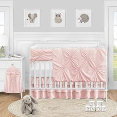 Pink Shabby Chic Harper Baby Girl Nursery Crib Bedding Set by Sweet Jojo Designs - 5 pieces - Solid Blush