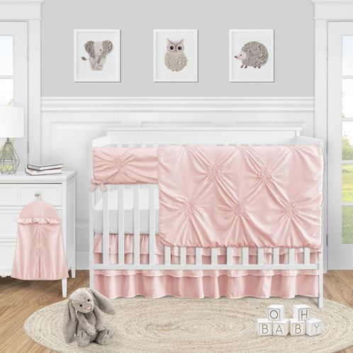 Pink Shabby Chic Harper Baby Girl Nursery Crib Bedding Set by Sweet Jojo Designs - 5 pieces - Solid Blush - Click to enlarge