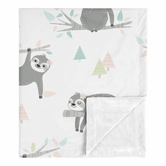 Pink Sloth Baby Girl Receiving Security Swaddle Blanket for Newborn or Toddler Nursery Car Seat Stroller Soft Minky by Sweet Jojo Designs - Blush, Turquoise, Grey and Green Jungle Leaf Botanical Rainforest