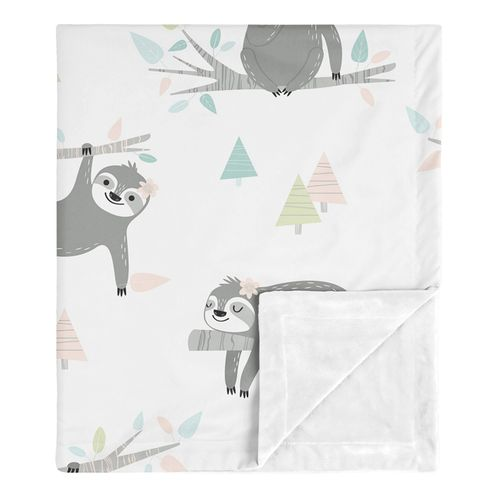 Pink Sloth Baby Girl Receiving Security Swaddle Blanket for Newborn or Toddler Nursery Car Seat Stroller Soft Minky by Sweet Jojo Designs - Blush, Turquoise, Grey and Green Jungle Leaf Botanical Rainforest - Click to enlarge