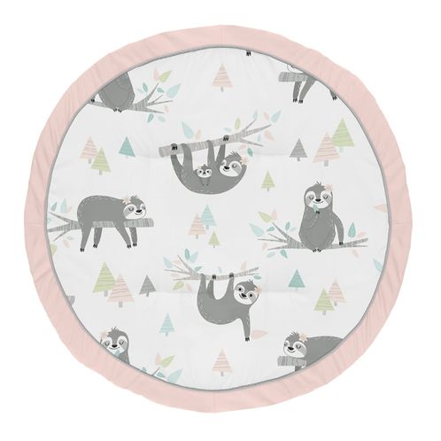 Pink Sloth Girl Baby Playmat Tummy Time Infant Play Mat by Sweet Jojo Designs - Blush, Turquoise, Grey and Green jungle Leaf Botanical Rainforest - Click to enlarge