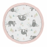 Pink Sloth Girl Baby Playmat Tummy Time Infant Play Mat by Sweet Jojo Designs - Blush, Turquoise, Grey and Green jungle Leaf Botanical Rainforest